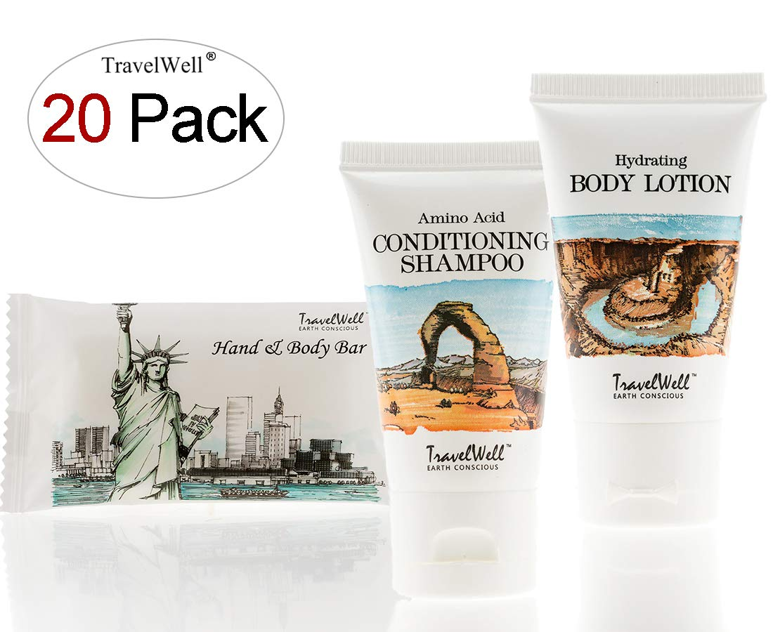TRAVELWELL Landscape Series Hotel Toiletries Amenities Travel Size Massage Cleaning Soaps 1.0oz/28g,Shampoo & Conditioner 2 in 1,Body Lotion each 20 Individually Wrapped