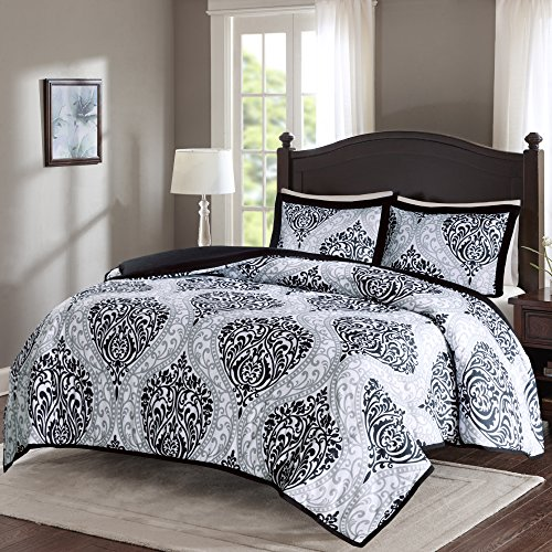 Comfort Spaces – Coco Duvet Cover Mini Set - 3 Piece – Black and White – Printed Damask Pattern With Corner Ties – Full/Queen size, includes 1 Duvet Cover, 2 Shams