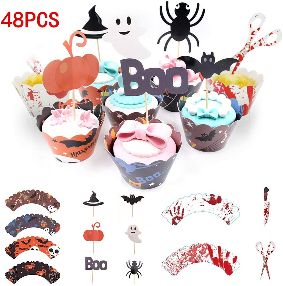 Amazon Com 48pcs Halloween Cupcake Wrappers Halloween Cake