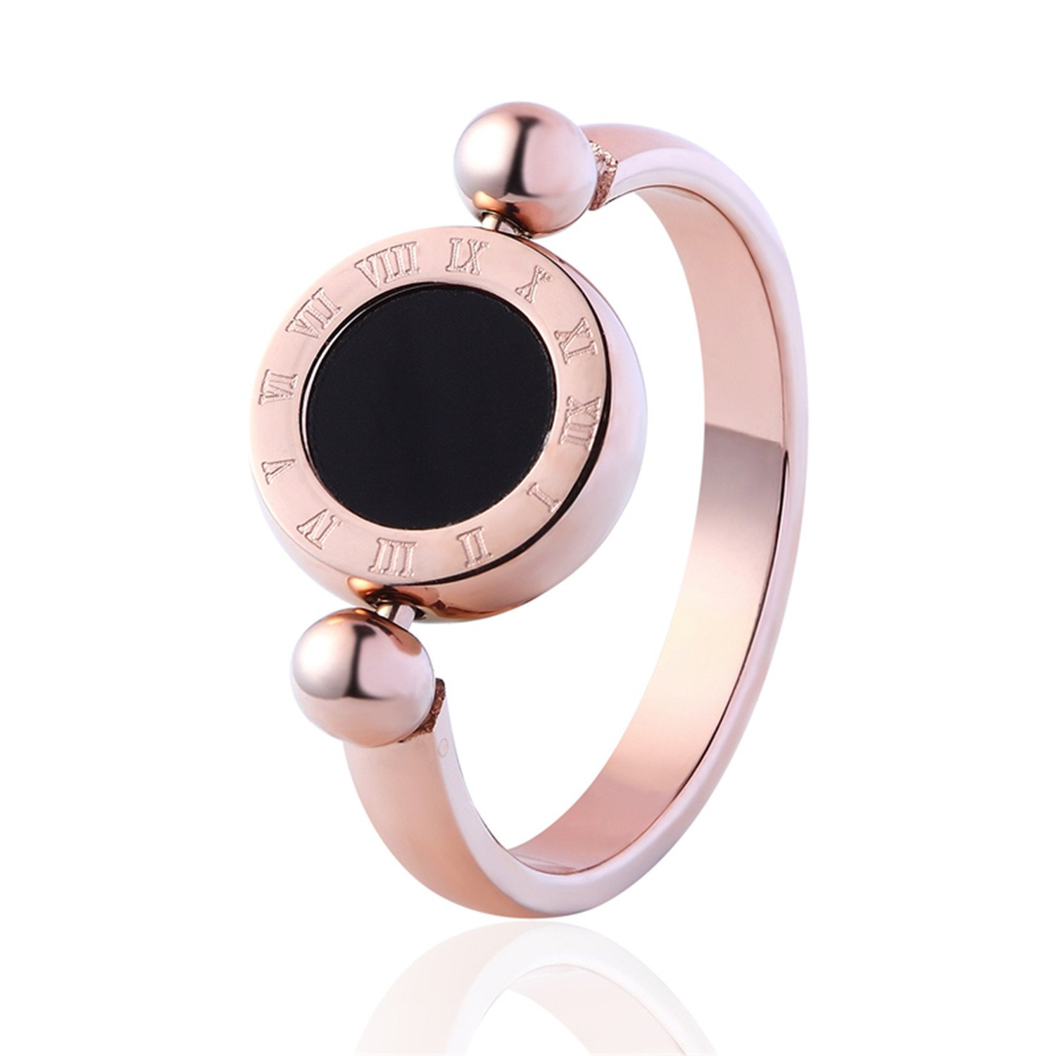 Trendy Wedding Bands Rings Can Be Rotated Roman Letters Two-Sided Shell And Enamel Ring Top Quality Lovers Luxury Brands Rings Rose gold 9
