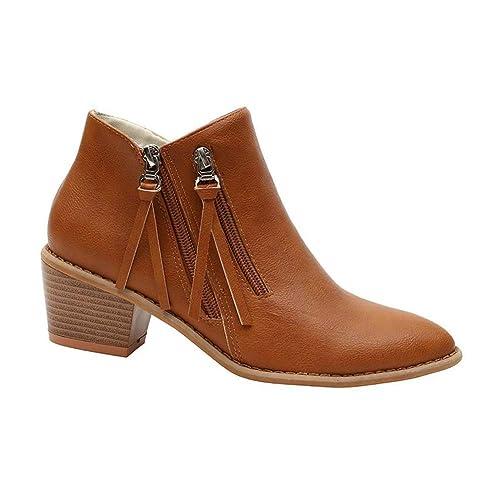 Gtagain Zapatos para Mujer Botas - Mujer Dedo del pie Puntiagudo Botines Cremallera Cuero Tacón Ancho Chelsea Casual Cómodo: Amazon.es: Zapatos y ...