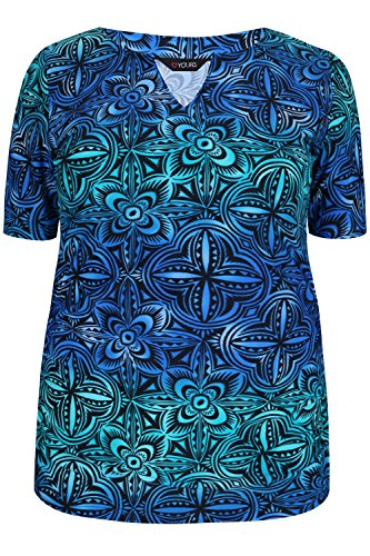 Plus Size Womens Multi Tile Print Swim Top With Ruched Sleeves & Sides Size 18 Blue