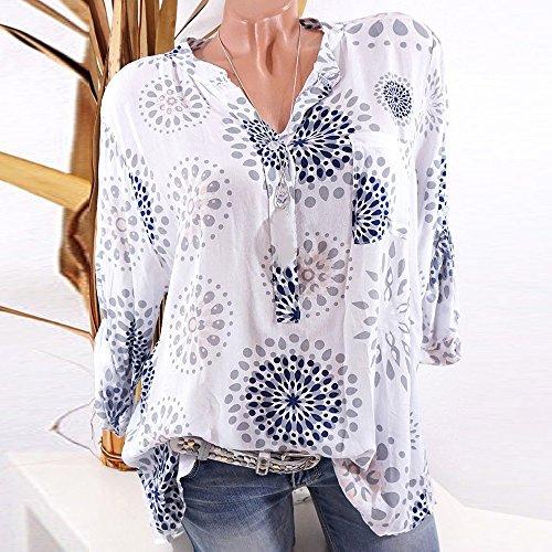 T Haut Femme Casual Blouse lgante Automne Chemisier Shirt Chemise Dihope Printemps Blanc Affaires Tee Chic Top Lger Shirt Imprim Loose Manche Longue 8AxfdRw