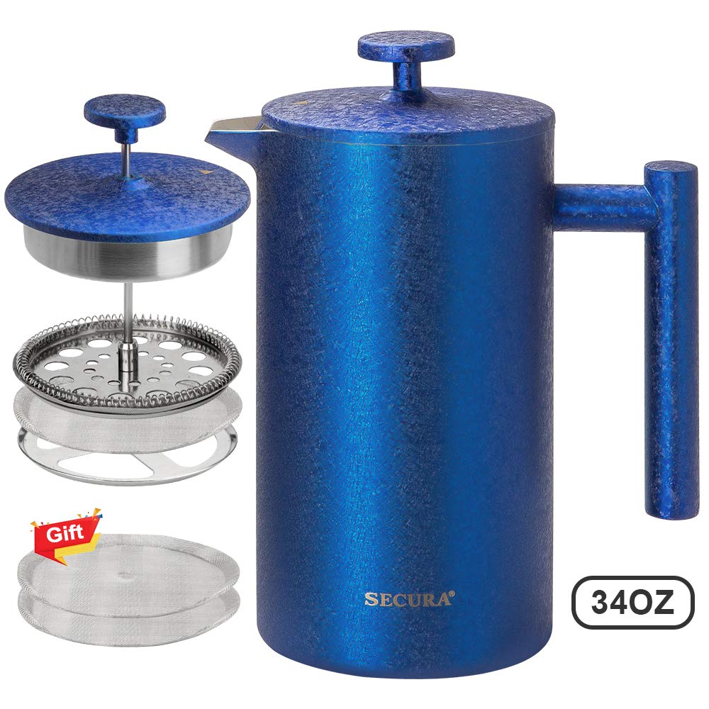 Secura French Press Coffee Maker, 304 Grade Stainless Steel Insulated Coffee Press with 2 extra Screens, 34oz (1 Litre), Blue