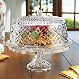Amazing Cake Stand Multifunctional Cake and Serving Stand For weddings,events, parties, 4-in-1 Crystal Cake Plate with Dome