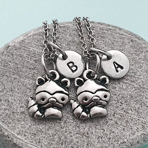 Best friend necklace, raccoon necklace, animal necklace, bff necklace, sister, friendship jewelry, personalized necklace, initial, monogram