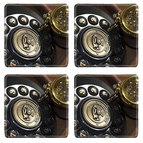 MSD Natural Rubber Square Coasters IMAGE 22973703 Vintage some old objects An old watch and a telephone