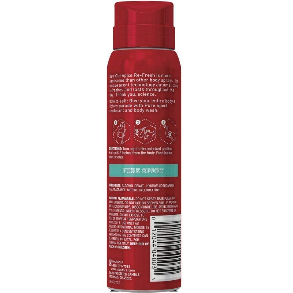 Special Pack of 5 Old Spice BODY SPRAY PURE SPORT 3.75 oz PROCTER GAMBLE DIST.