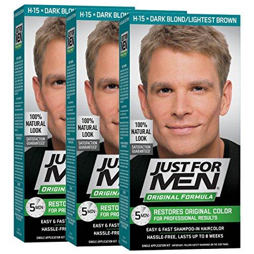 Just For Men Original Formula Men's Hair Color, Dark Blond Lightest Brown (Pack of 3), Dark Blond/Lightest Brown