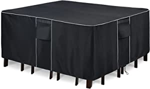 FORSPARK Patio Furniture Covers Waterproof for Table and Chairs Sets Patio Square Table Cover - Fits up to 128 x 84 x 32 Inches (L x W x H)