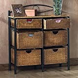 6 Drawer Wicker Furniture Storage Chest, Black & Natural accent. Made of Fiberboard Elegant Design & Versatile. Black Powder Coated Round Pipes. Made by Wildon Home ® Royston with 1 Year Limited Warranty.