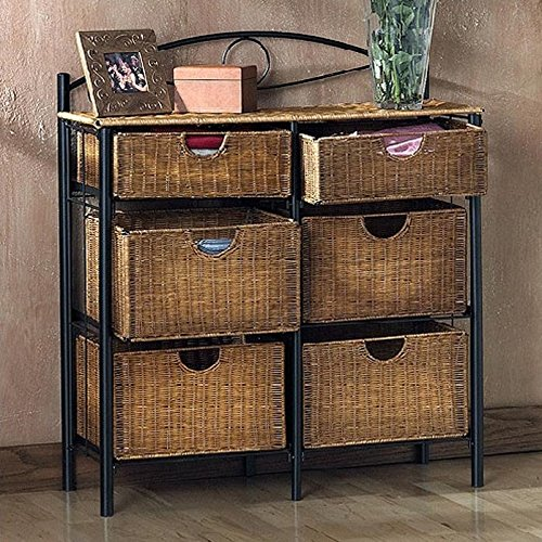 6 Drawer Wicker Furniture Storage Chest, Black & Natural accent. Made of Fiberboard Elegant Design & Versatile. Black Powder Coated Round Pipes. Made by Wildon Home ® Royston with 1 Year Limited Warranty. (Wicker 6 Storage Drawer Unit)