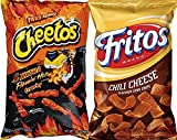 Cheetos Crunchy Xxtra Flamin' Hot & Fritos Chili Cheese Corn Chips Snack Care Package for College, Military, Sports Approxiamtely 8.0 Oz (2)
