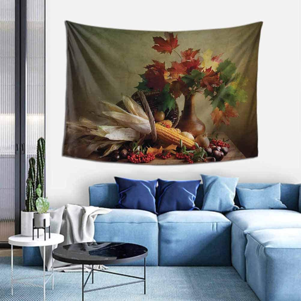 Harvest Tapestry for Home Decor Photograph from Death of the Nature Season Fall Vegetables and Leafs Wooden Table Decorative for Bedroom Living Room W51 x L60 inch Multicolor