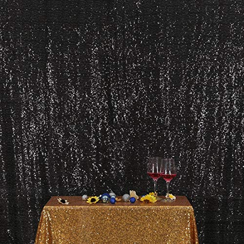 Poise3EHome 5FT x 6FT Sequin Photography Backdrop Curtain for Party Decoration, Black