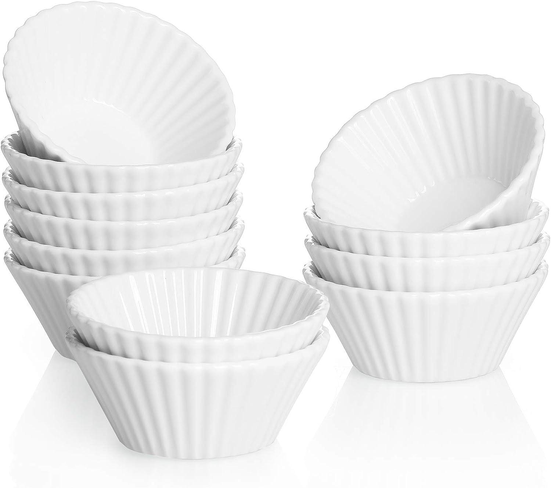Sweese 528.001 Porcelain Baking Cups, Mini Muffin Pan, Non-Stick Cupcake Set, Alone Cupcake Holder, Sauce Dishes, Set of 12, White