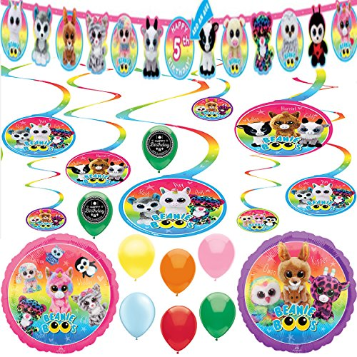 Beanie Boos Party Supplies Birthday Balloon Room Decoration Bundle ()