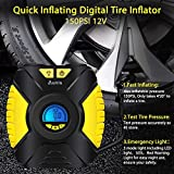 Tire Inflator, Aunis Portable Air Compressor,12V DC 150 PSI Car Air Pump With Digital LCD Screen 3-Mode LED Lights, Tire Air Compressor for Car, Bicycle, Basketball, Other Inflatab