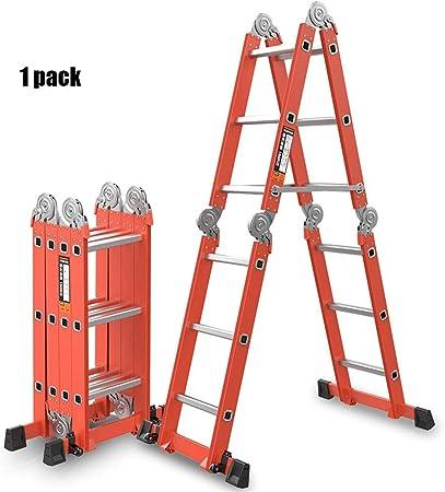 JGWJJ Escalera Multiusos Escalera Plegable Escalera escalonada de Aluminio Extensible de 2,5 m Escalera de Plataforma para Servicio Pesado - Extensible y versátil Seguridad Bisagra de Bloqueo Pies de: Amazon.es: Hogar