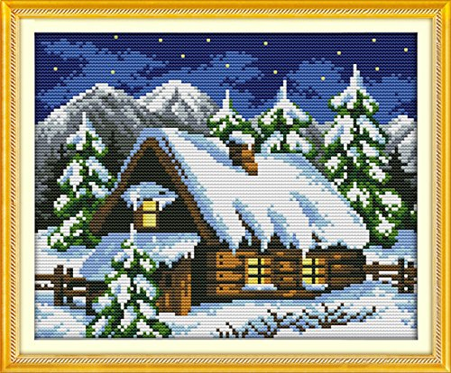 YEESAM ART New Cross Stitch Kits Advanced Patterns for Beginners Kids Adults - Winter Fairy Tale House 11 CT Stamped 37×29 cm - DIY Needlework Wedding Christmas Gifts