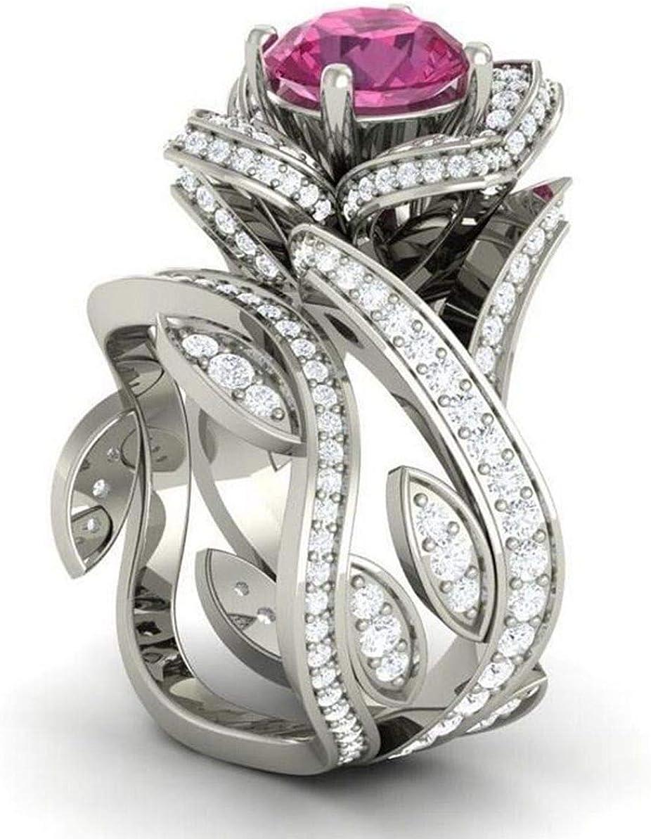 AJZYX Fashion Cubic Zirconia cz Rings Zircon Silver Plating Diamond Ring for Women Girls Rose-Shape 4 Colors Size 6-10