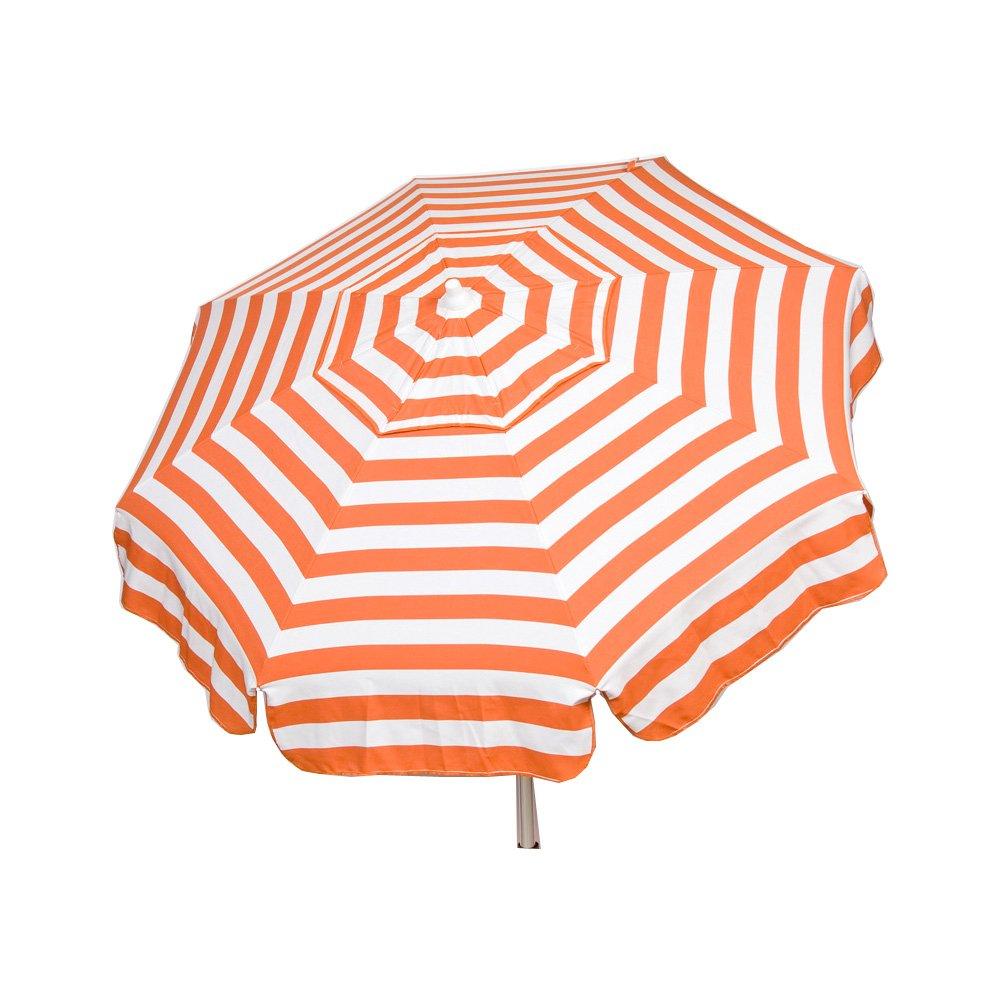 Heininger 1337 DestinationGear Italian Orange and White 6' Acrylic Striped Bar Height Pole Umbrella