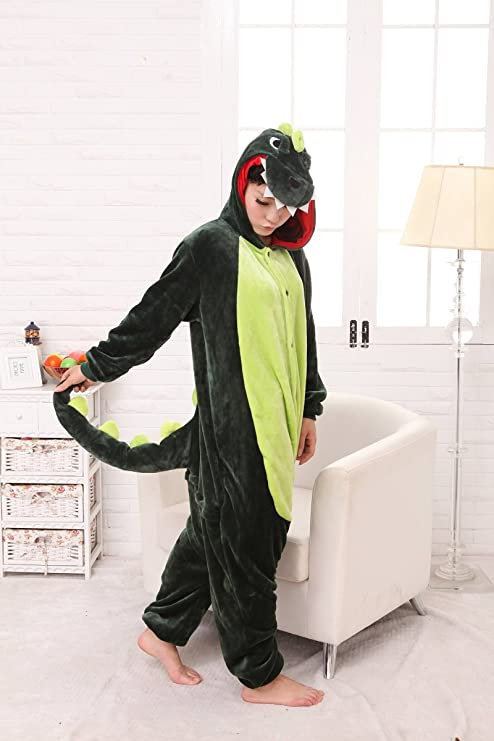 Colorfulworld Kigurumi Pijamas Juguetes y Juegos Animal Ropa Animales Pijama Cosplay Disfraces (M, Green