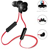 KingYou Bluetooth Headphones Wireless HD Stereo In-Ear Sports Earbuds Sweatproof Earphones Noise Isolating Headsets with Mic for Gym Running Jogging(Red & Black)