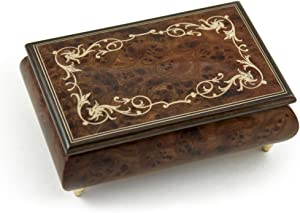 Contemporary 30 Note Wood Tone Music Box with an Arabesque Wood Inlay Design - Many Songs to Choose - Serenade (Schubert)