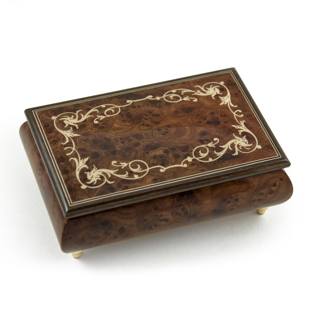 Contemporary 30 Note Wood Tone Music Box with an Arabesque Wood Inlay Design - Love is Blue