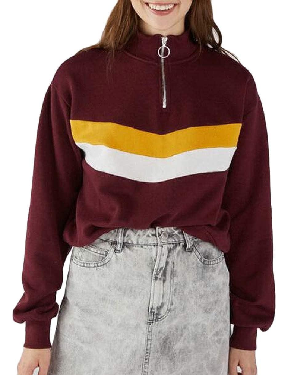 ZXFHZS Women Color Block Pullover Long Sleeve Half Zipper Sweatshirt Blouse Tops
