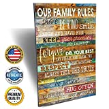 home wall art  12-Inch-by-18-Inch Country Wood Our Family Rules Wall Art Sign Decor, Brown