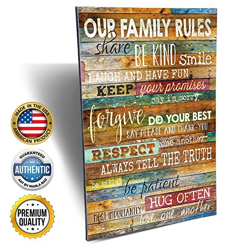 12-Inch-by-18-Inch Country Wood Our Family Rules Wall Art Sign Decor, Brown