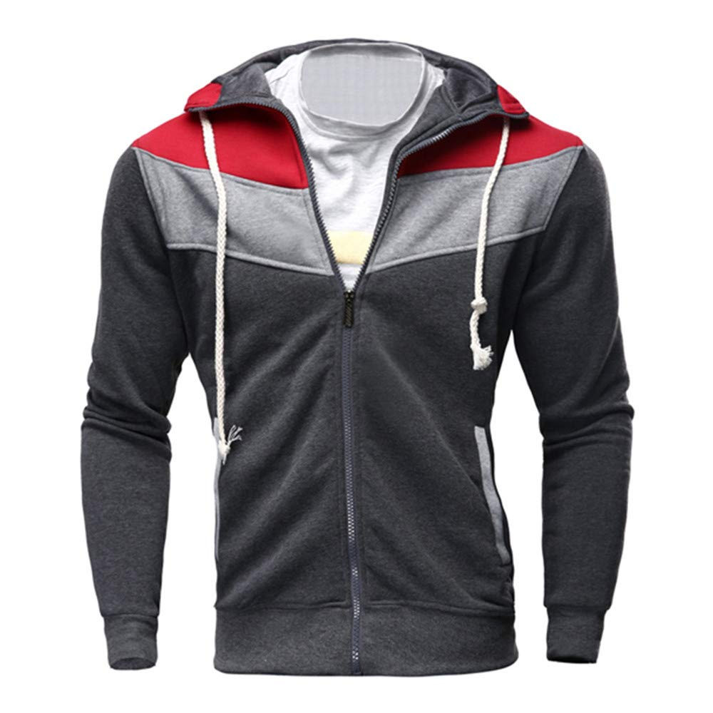 Mens Jacket Godathe Clearance Mens Autumn Winter Casual Zipper Long Sleeve Splicing Sweatshirt Hoodie Coat Top M-XXL