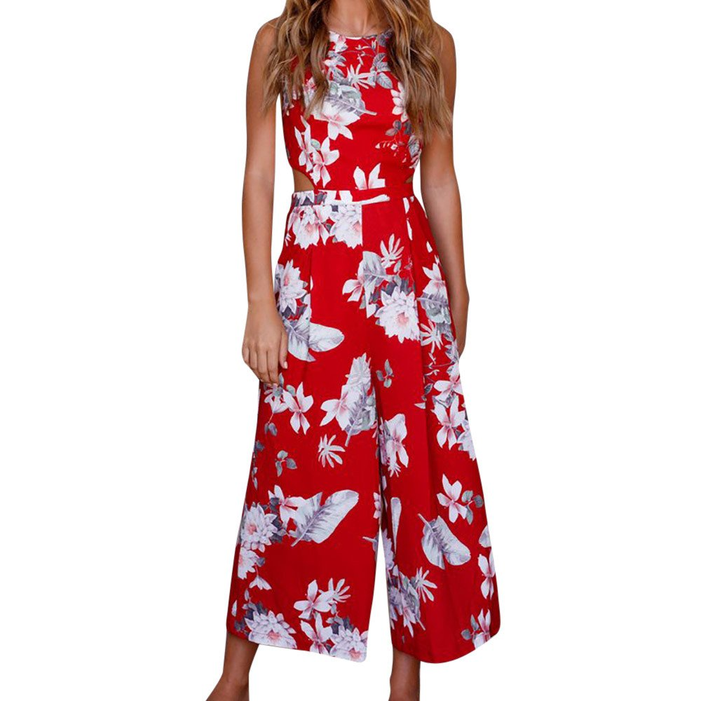 POTO HOT Sale,Women Summer Bohe Sleeveless Floral Print Backless Romper Jumpsuit Wide Leg Long Pants Playsuit (S, Red)