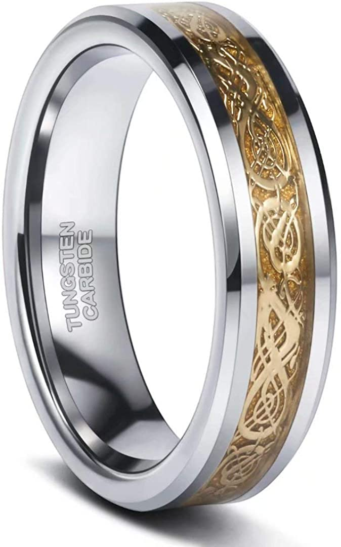 Frank S.Burton 6mm 8mm Celtic Tungsten Rings for Men Women Dragon Design Tungsten Carbide Wedding Band Comfort Fit Size 4-13