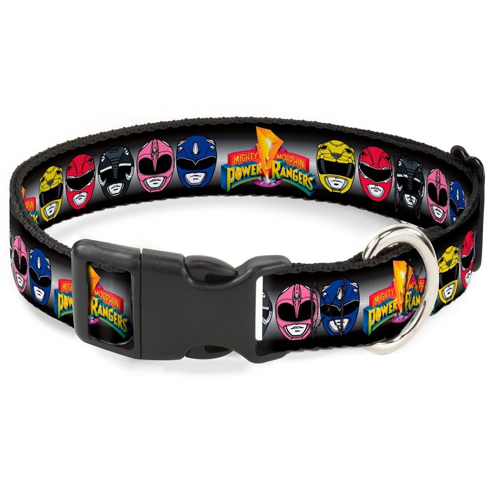 Buckle-Down Power Rangers Faces w MMPR Logo  Breakaway Cat Collar, 1 2  x 8-12  Medium