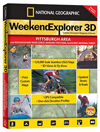 National Geographic Topo Weekend Explorer 3d Pittsburgh Area Map Cd