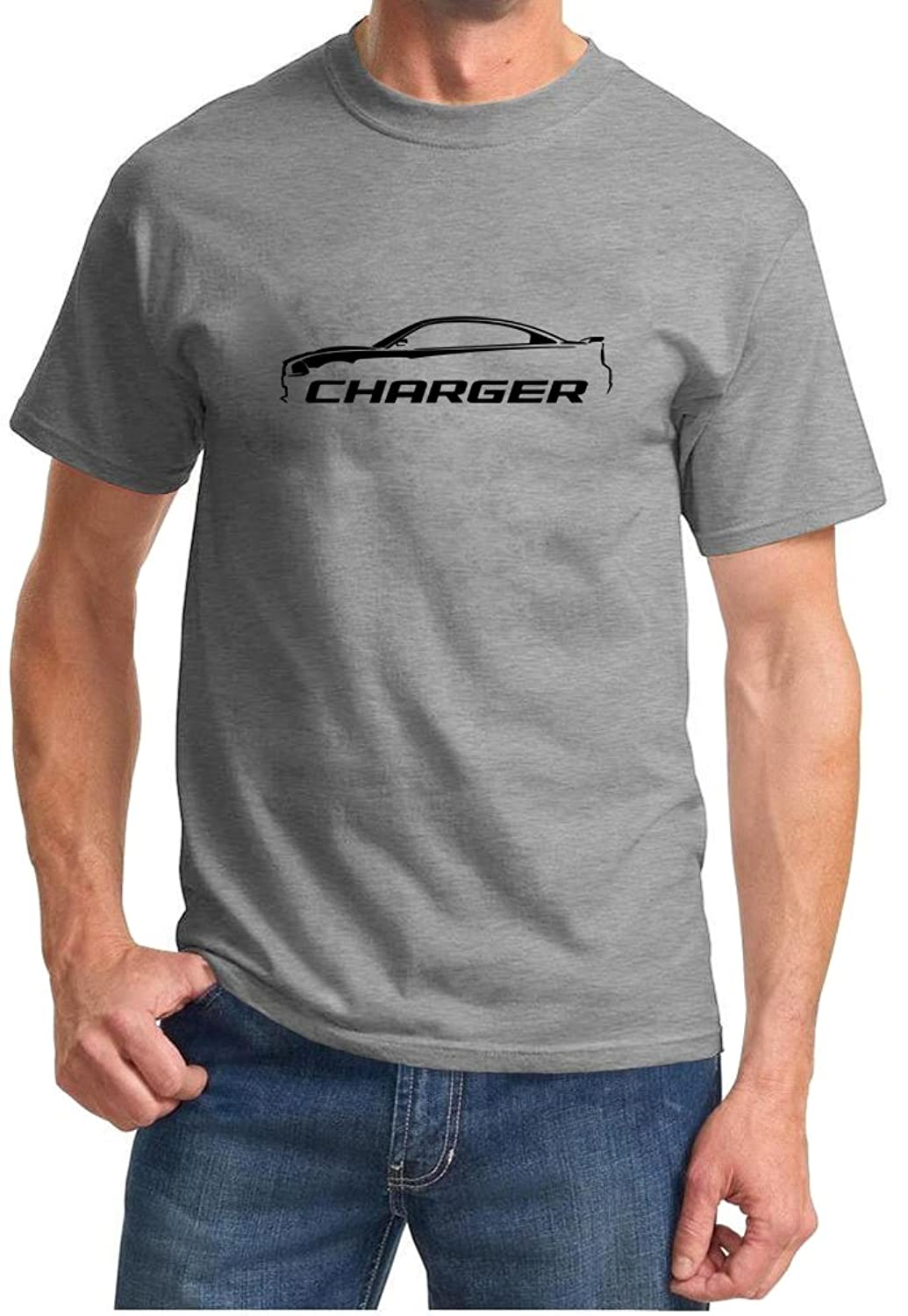 2010-14 Dodge Charger Classic Outline Design Tshirt 3XL grey