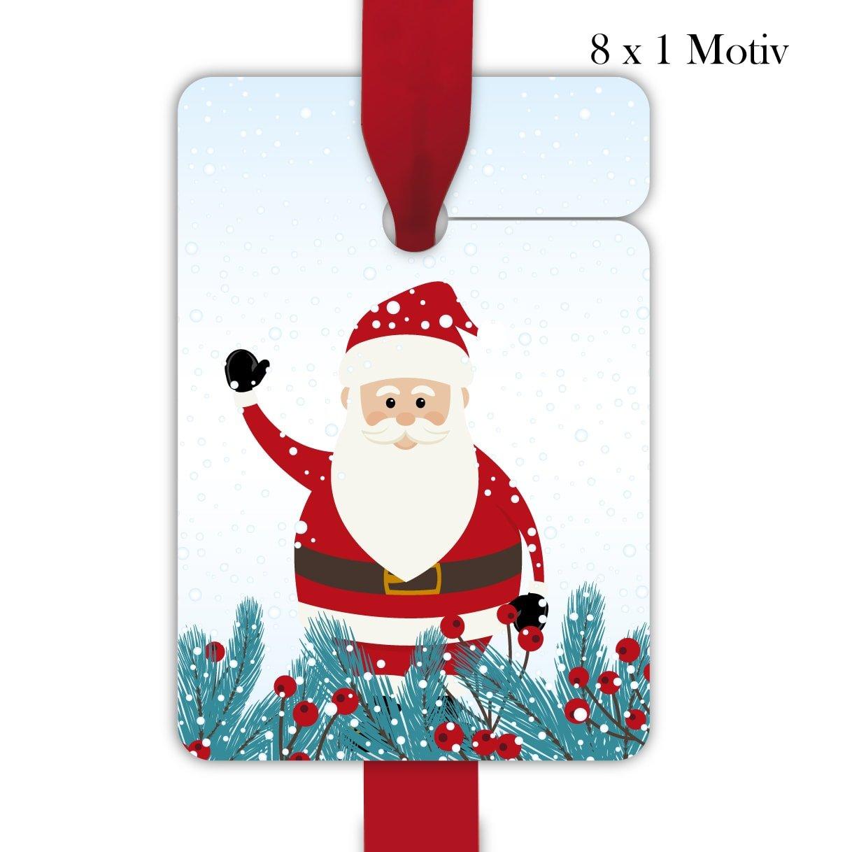 10 x 8 süße Weihnachts Geschenkanhänger, Geschenkkarten, Papieranhänger, Hänge Etiketten, Tags zu Weihnachten mit winkendem Weihnachtsmann und Winter Grün, Format 10 x 6,9cm