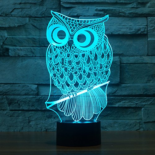 Owl Light, YKL WORLD 3D Optical Illusion Table Lamp, Cute Ow