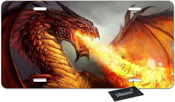 Flame Dragon Photo License Plate