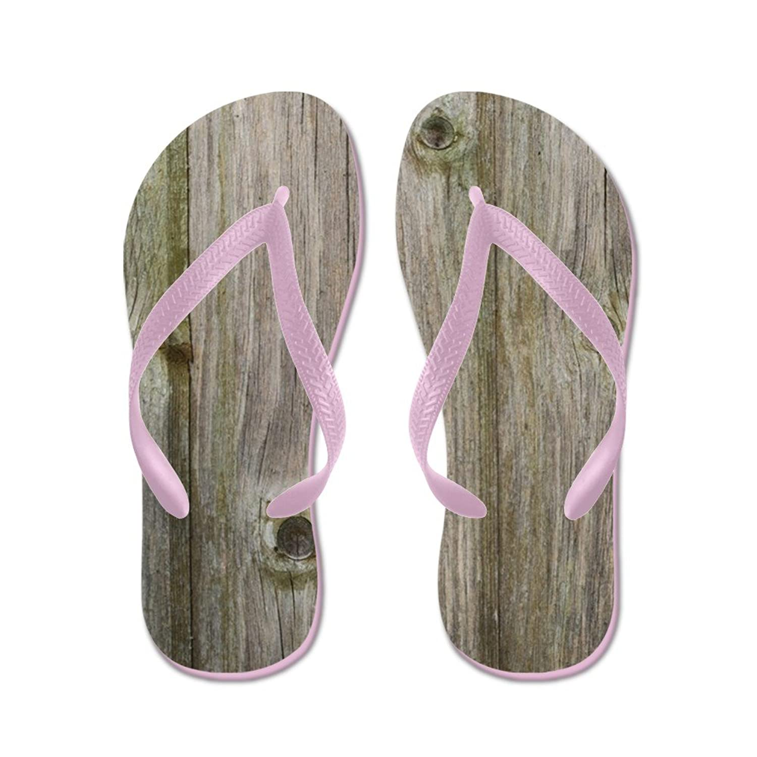 2f79f4760 CafePress - Old Grey Wood - Flip Flops