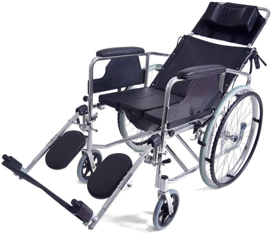 CLJ-LJ Silla de ruedas reclinable completa de 170°, marco de aluminio ligero plegable, silla de ruedas autopropulsada con orinal y freno de mano, almohada cómoda, color negro