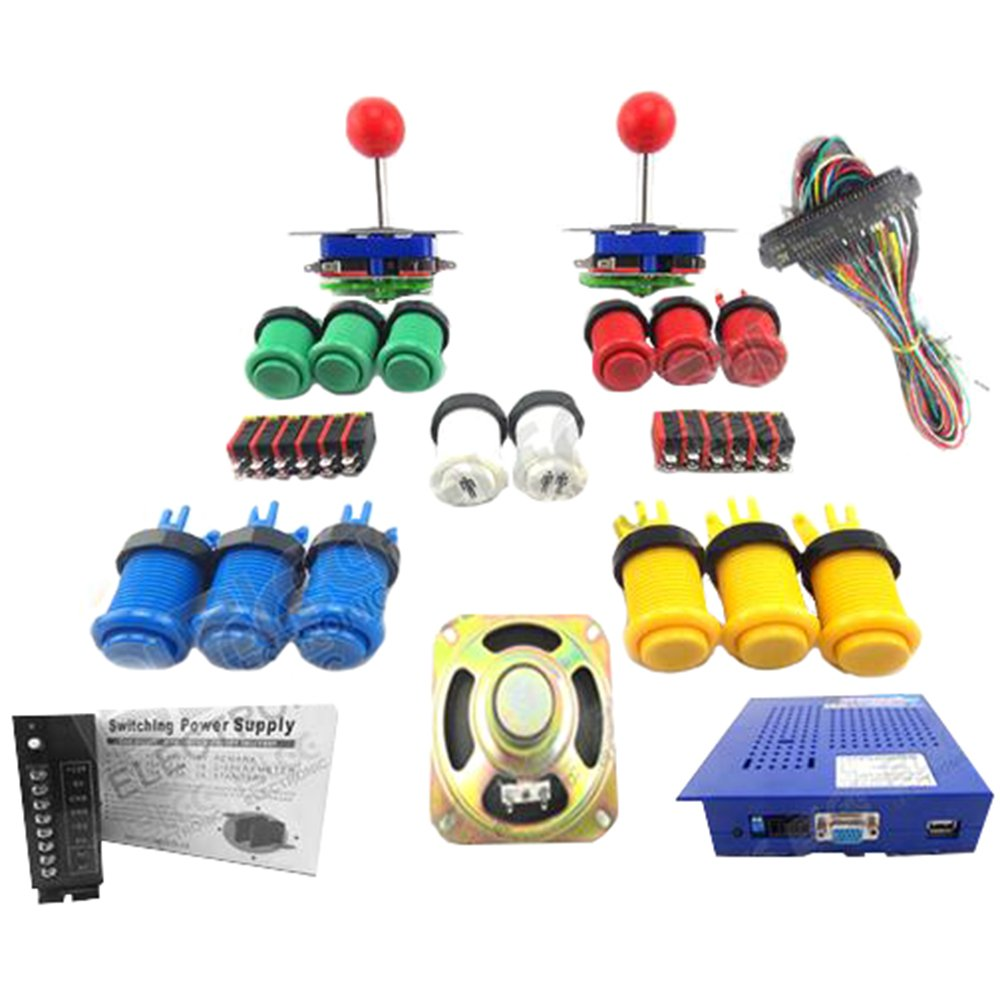 WINIT Arcade Parts Bundles With 412 in1 Jamma PCB Game Board 15A Power Supply L Joystick Push button Microswitch Harness Speaker for Arcade Machine by Winit