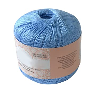 Steellwingsf hilo de hilo de algodón mercerizado para bordar ganchillo para tejer, joyería de encaje, algodón, azul claro, 07: Amazon.es: Hogar