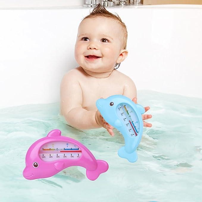 Dabixx Wasserthermometer Baby Baden Dolphin Form Temperatur Kleinkinder Kleinkind Dusche Blau 12x6 cm 4,72x2,36