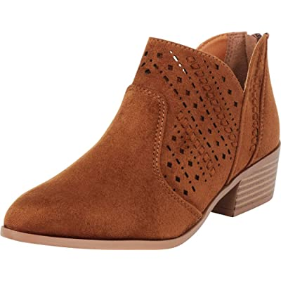 Cambridge Select Women's Pointed Toe Western Woven Laser Cutout Chunky Stacked Heel Ankle Bootie: Shoes