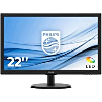 "Philips Monitor 223V5LHSB2 Monitor per PC Desktop 21,5"" LED, Full HD, 1920 x 1080, 5 ms, HDMI, VGA, Attacco VESA, Nero"