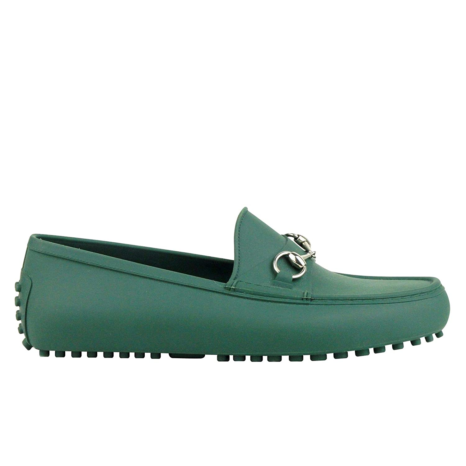 8d3ffa3ddc9cd Amazon.com: Gucci Silver Horsebit Green Rubber Loafer Shoes 386586 3020 (11  G / 11.5 US): Shoes